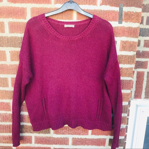 Lila P Burgundy Knit Pullover Sweater